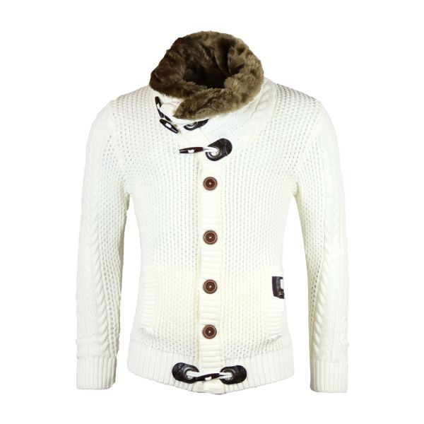 White Knitted Cardigan With Faux Fur Foldable Collar