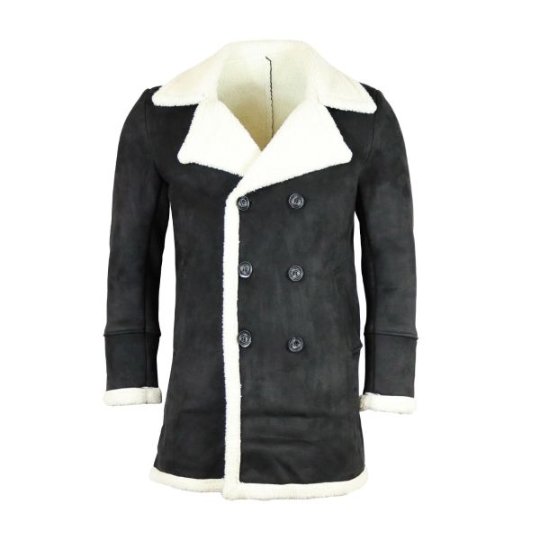 Black Suede Effect Coat With Borg Collar