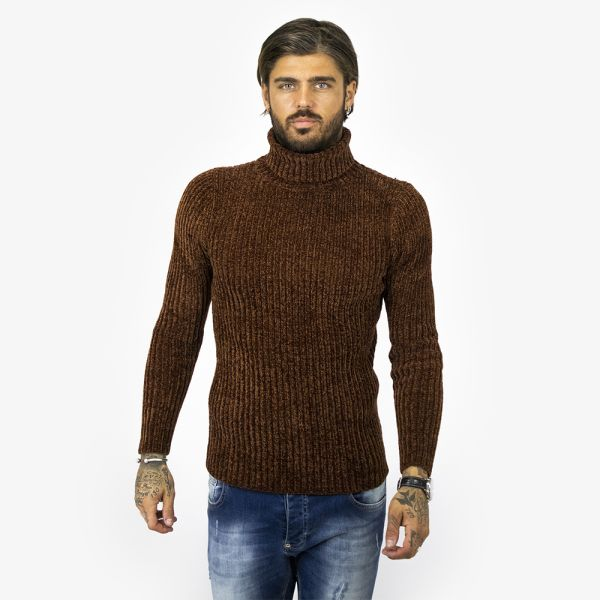 Brown Ribbed Roll Neck Knit Jumper