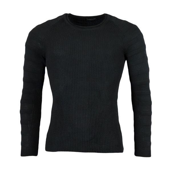 Black Knitted Sweatshirt With Patterned Arm Sleeves