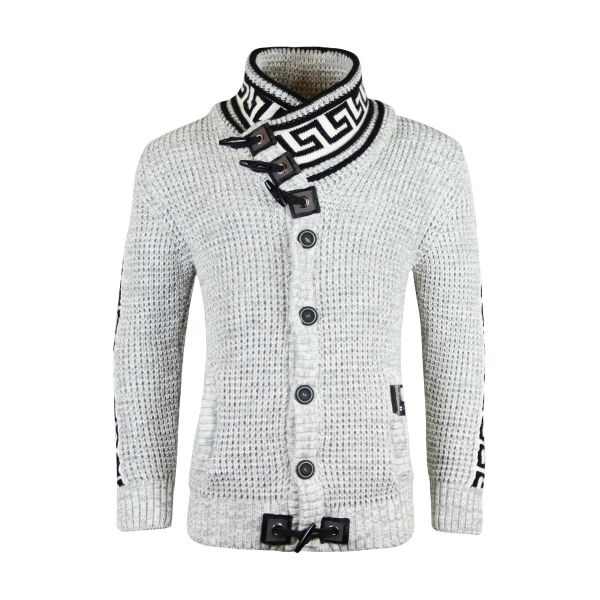 White With Black Patterned Knitted Detailing Foldable Knitwear