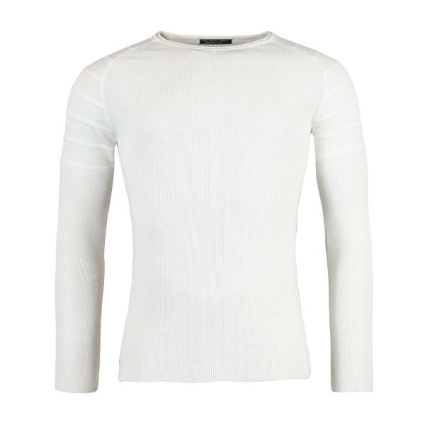 White Ribbed Jumper With Knitted Detailing
