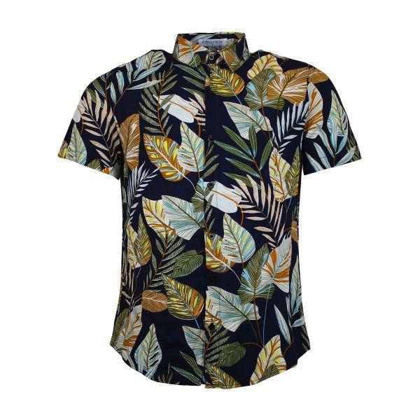 Navy Floral Patterned Short Sleeve Shirt