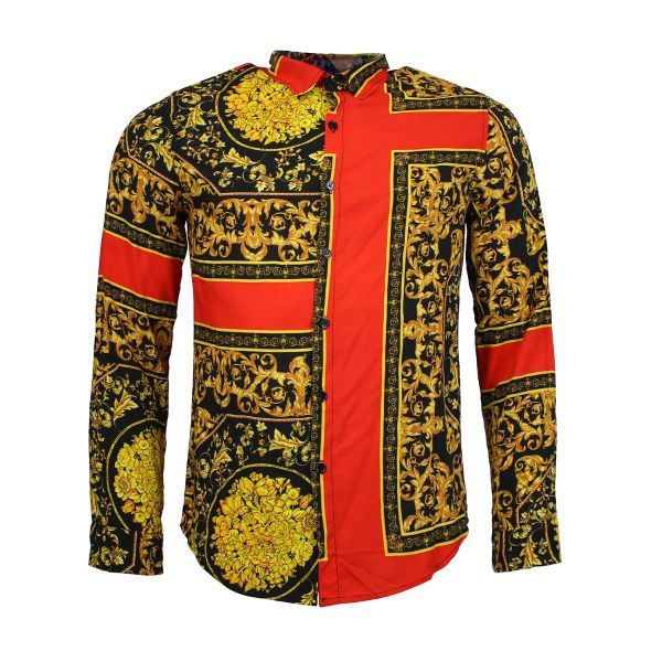 Red and Gold Patterned Print Long Sleeve Shirt