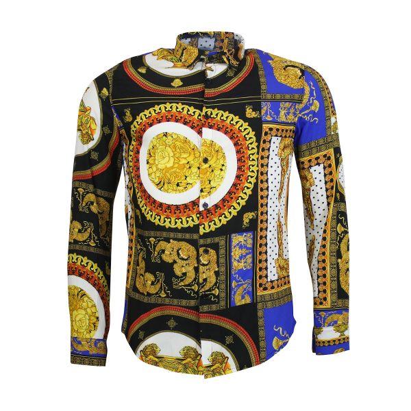 Multi-Coloured Patterned Print Long Sleeve Shirt