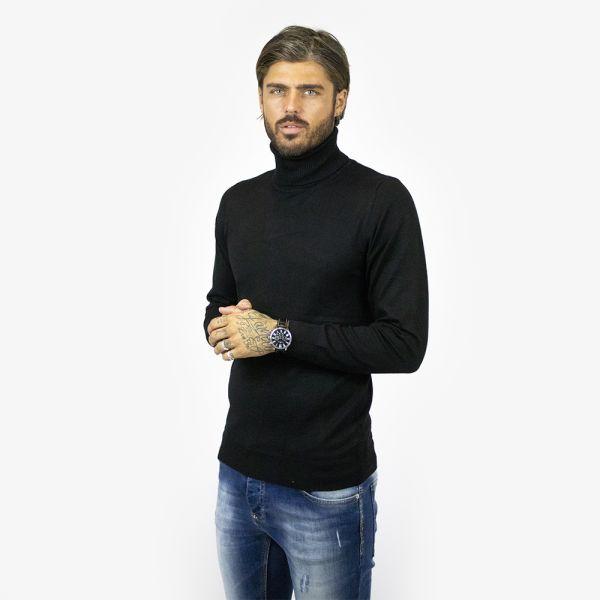 Black Roll Neck Long Sleeve Top