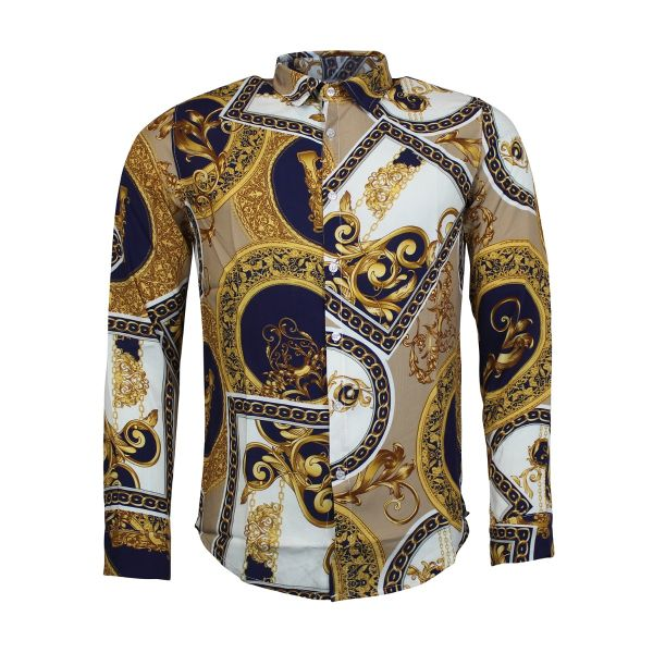 Gold and Navy Patterned Print Long Sleeve Shirt