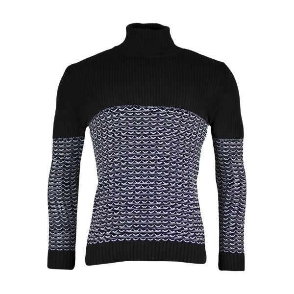 Black Roll Neck Jumper With White Knitted Detailing