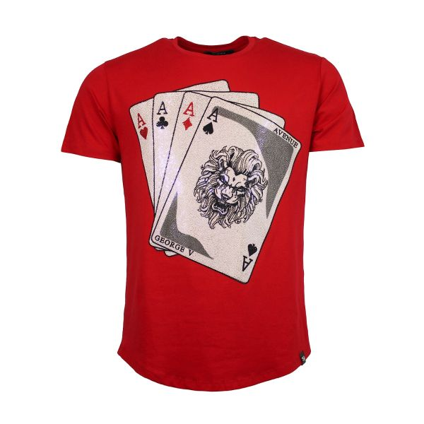 Red Playing Card Diamonte Crew Neck T-Shirt