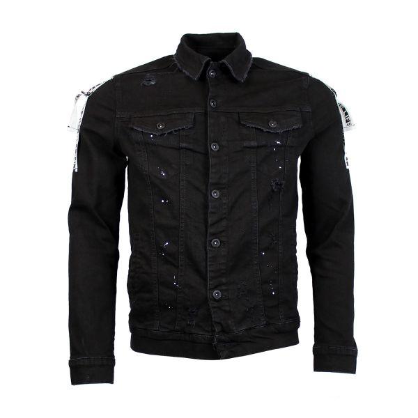 Black 3D Denim Jacket With Strap Detail