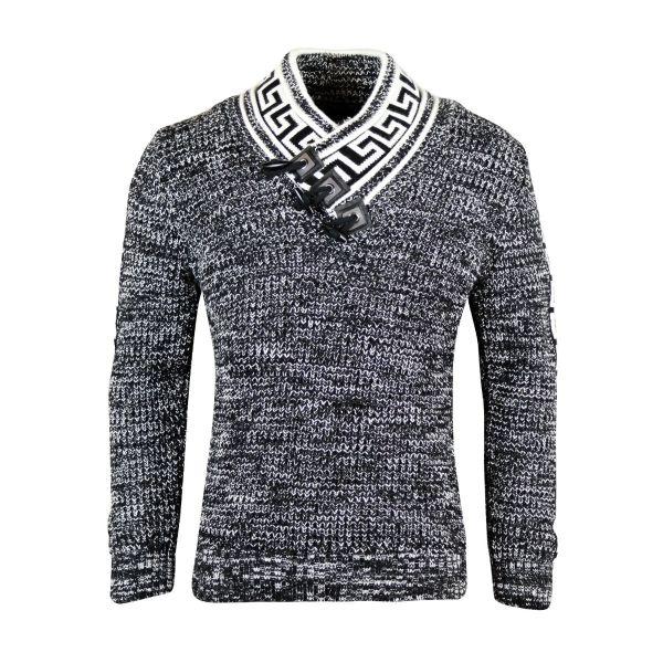 Black Patterned Knitted Detailing Foldable Jumper