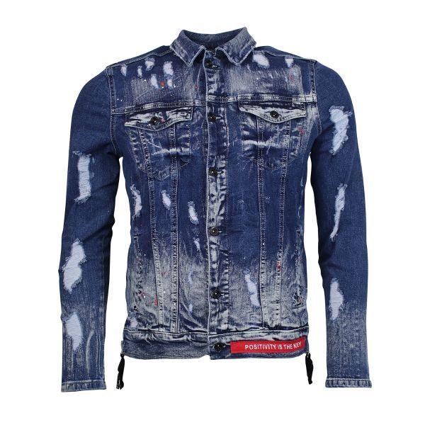 Denim Faded Zipped Jacket