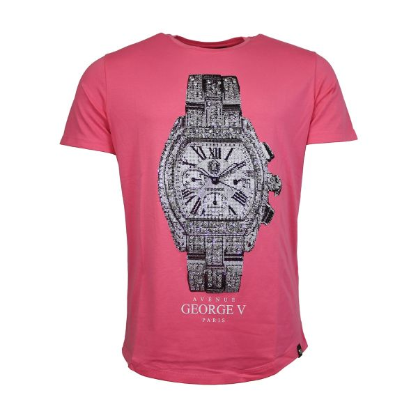 Pink Watch Diamonte Crew Neck T-Shirt