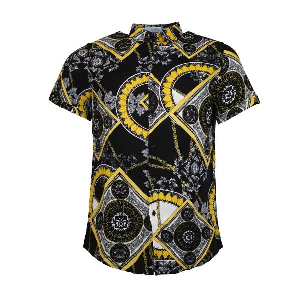 Black And Gold Patterned Print Short Sleeve Shirt