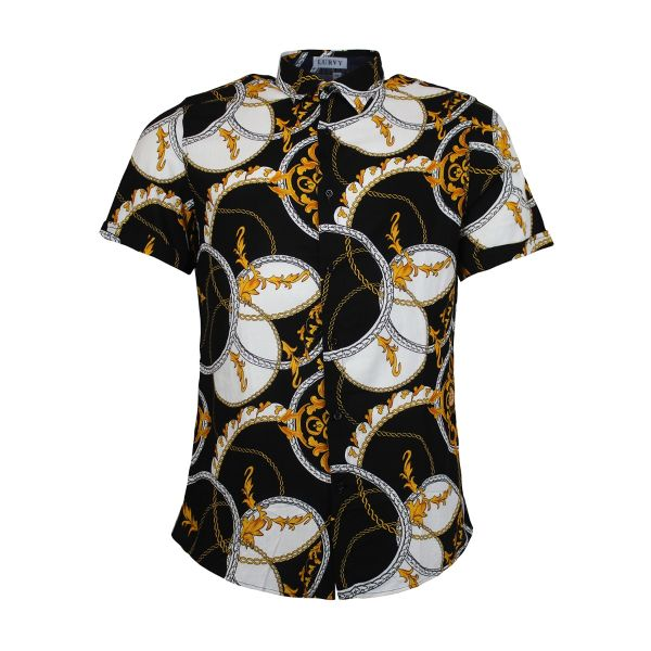 White And Gold Patterned Print Short Sleeve Shirt