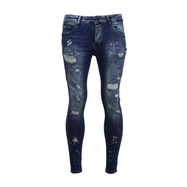 Blue Reflective Distressed Ripped Skinny Fit Jeans
