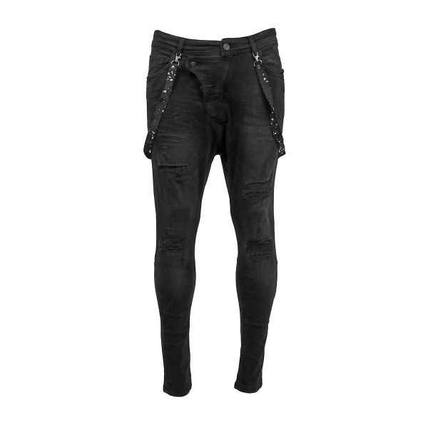 Black Harem With Detachable Braces Skinny Fit Jeans