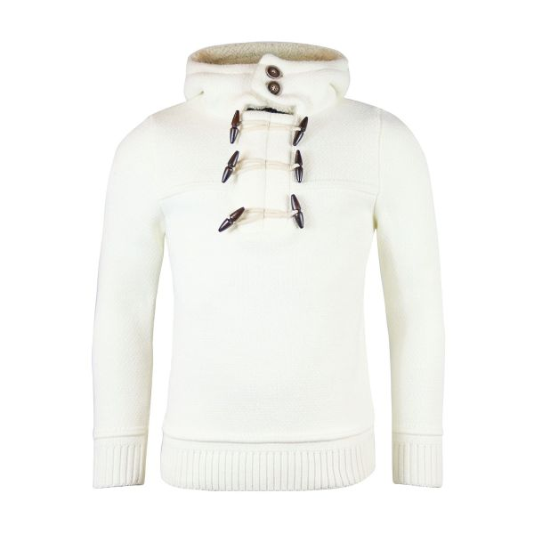 White Knitted Hoodie Jumper
