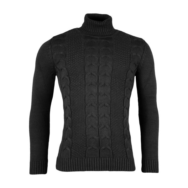 Black Woven Knitted Roll Neck Jumper