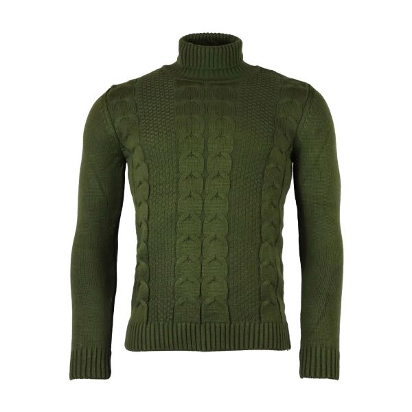 Khaki Roll Neck Knitted Jumper