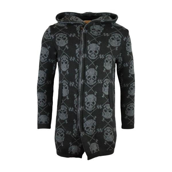 Black Longline Skull Cardigan Knitwear