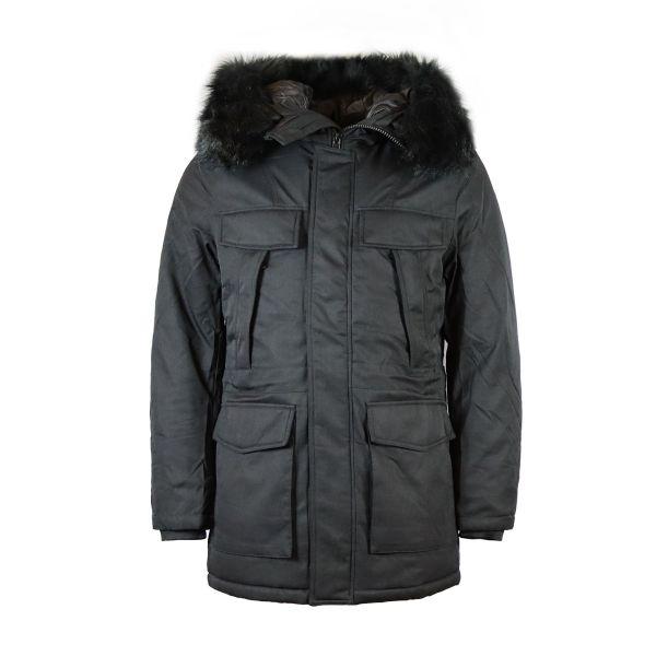 Black Parka With Black Faux Fur Hood