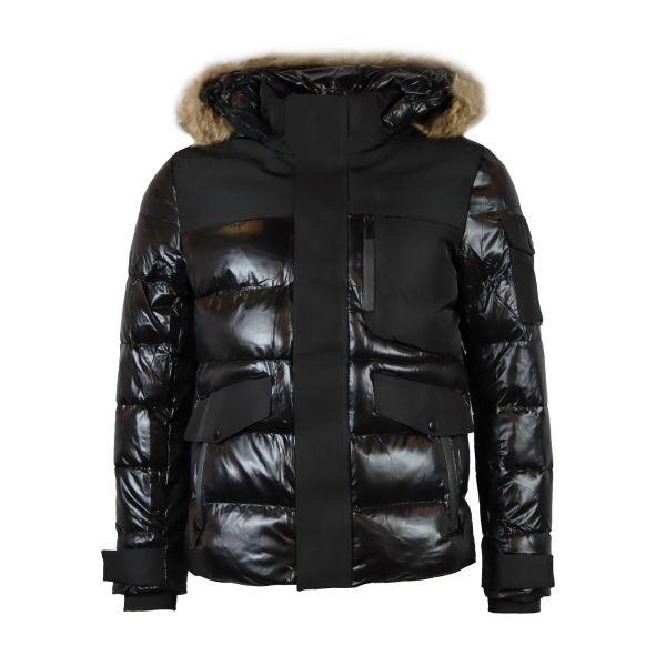 Black PVC Contrast Detailing Coat With Faux Fur Hood