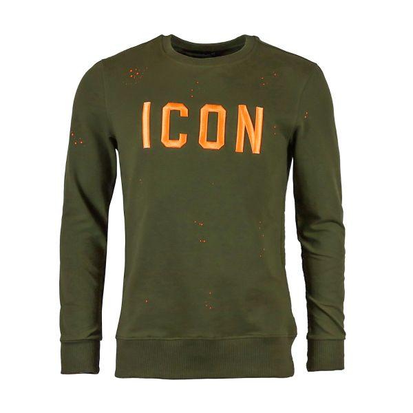Khaki And Neon Orange Inspired Sweatshirt