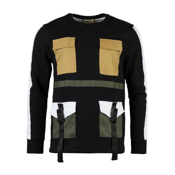 Black Contrast Pocket And Shell Buckle Strap Sweatshirt