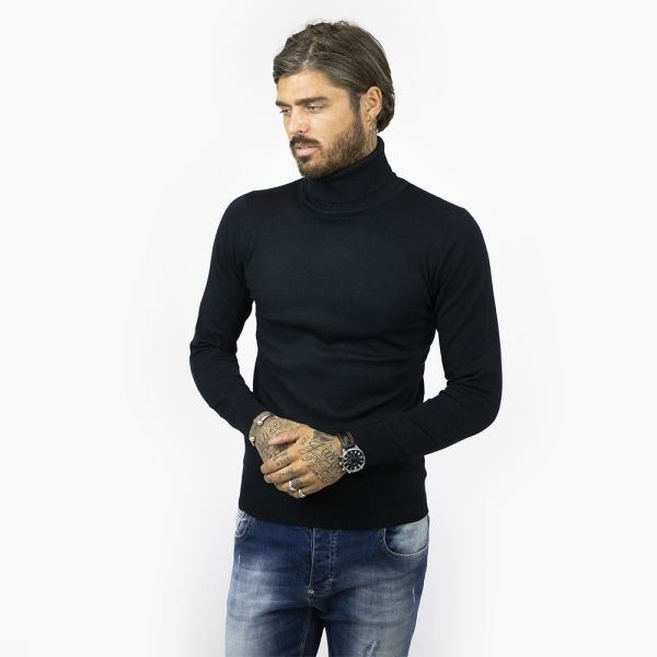 Navy Roll Neck Long Sleeve Top