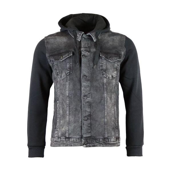 Dark Grey Denim Contrast Hooded Jacket
