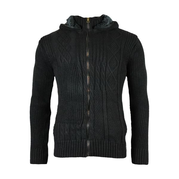 Black Faux Fur Hooded Knitwear