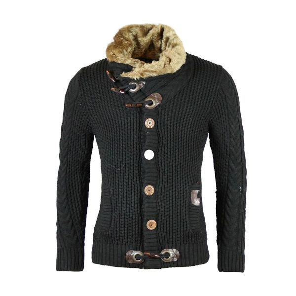 Black Knitted Cardigan With Faux Fur Foldable Collar