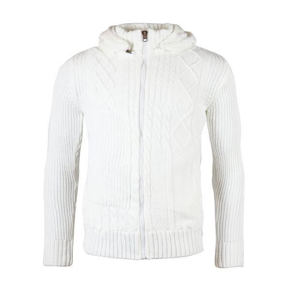 White Faux Fur Hooded Knitwear