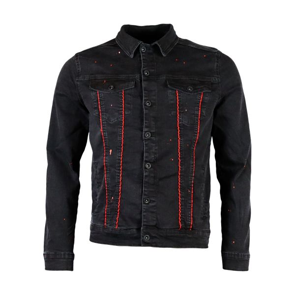 Black Denim With Red Paint Splat And Shell Buckle Detailing