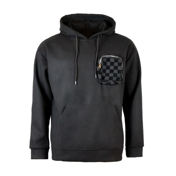 Black Woollen Hoodie With Pop Out Checked Chest Pocket