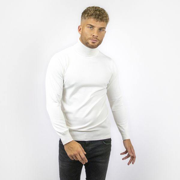 White Roll Neck Long Sleeve Top