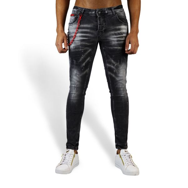 Grey Distressed Jeans With Red Detachable Chain