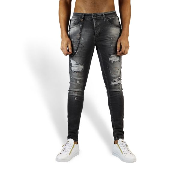 Grey Ripped Jeans With Orange And Black Paint Effect