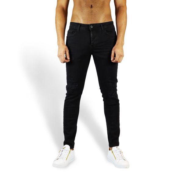 Black Slight Distress Plain Black Jeans
