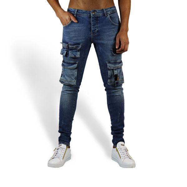 Blue Multi Pocket With Buckle Design Jeans