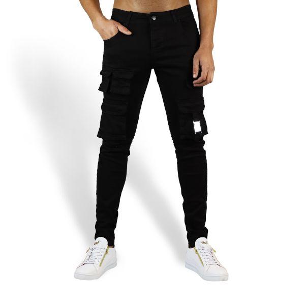 Black Multi Pocket With Buckle Design Jeans