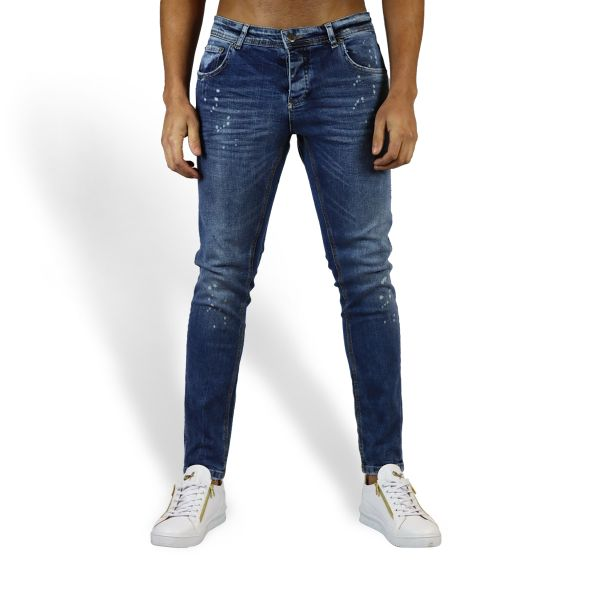 Blue With Spotted Paint Effect Jeans