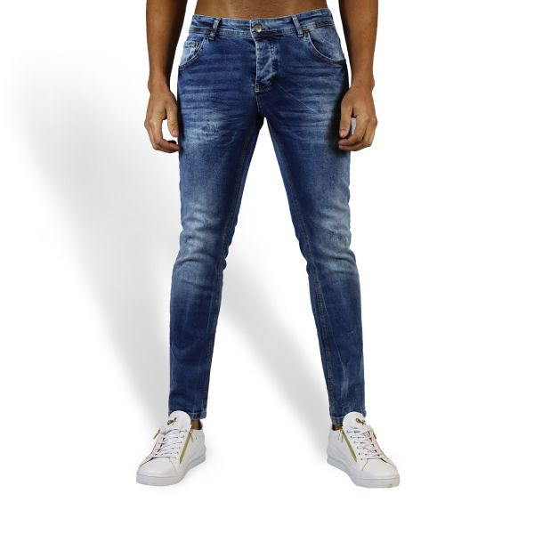 Blue Plain Faded Jeans