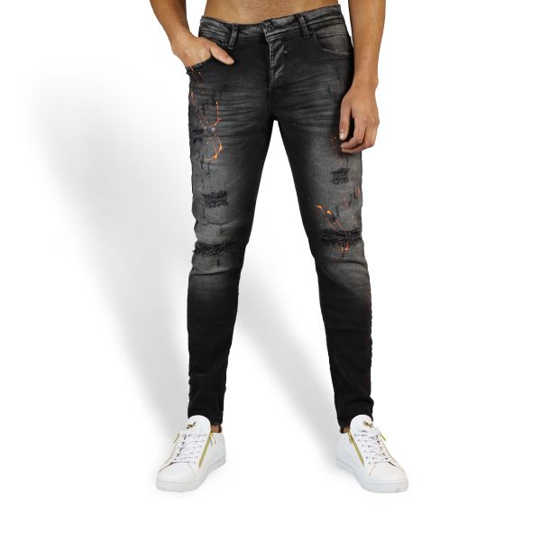 Grey Ripped Jeans With Orange Paint Splat Effect
