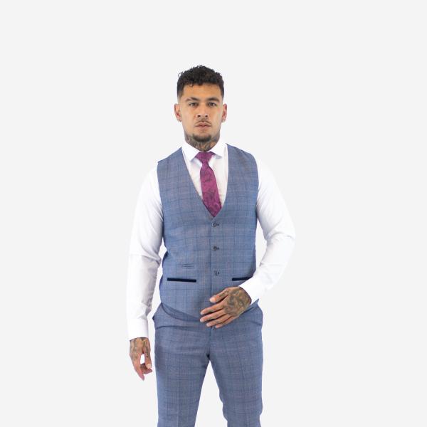 Marc Darcy Hilton Blue Tweed Waistcoat