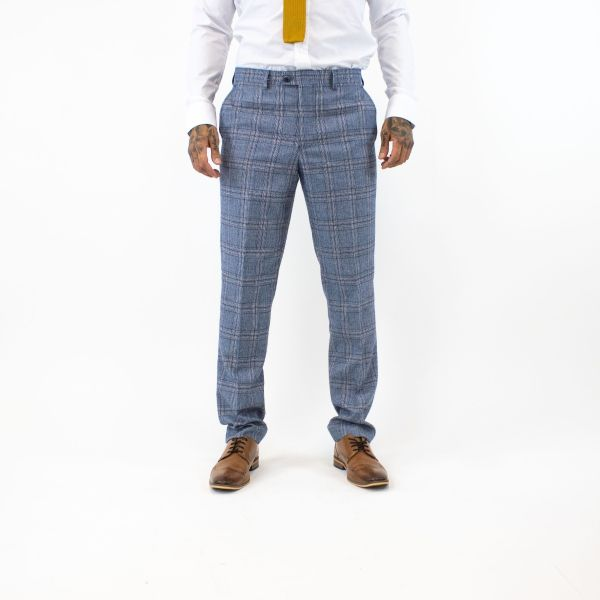 Cavani Brendan Blue Checked Trousers