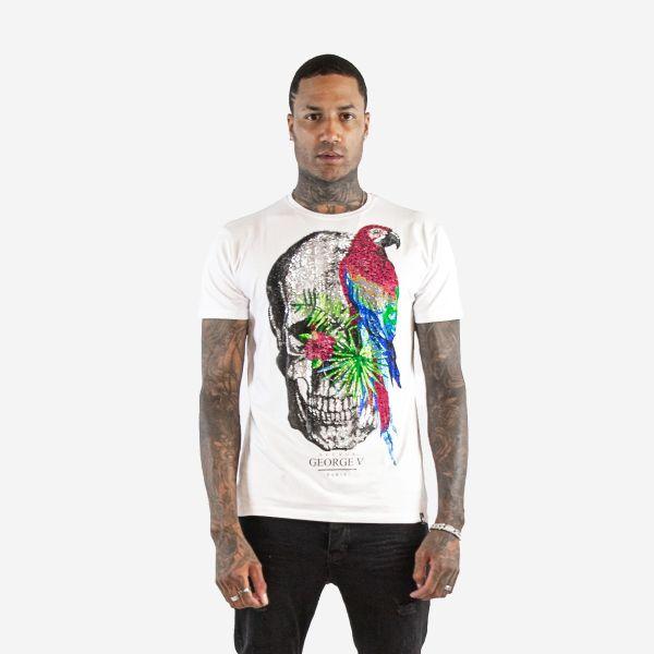 White Tropical Skull Diamanté T-shirt