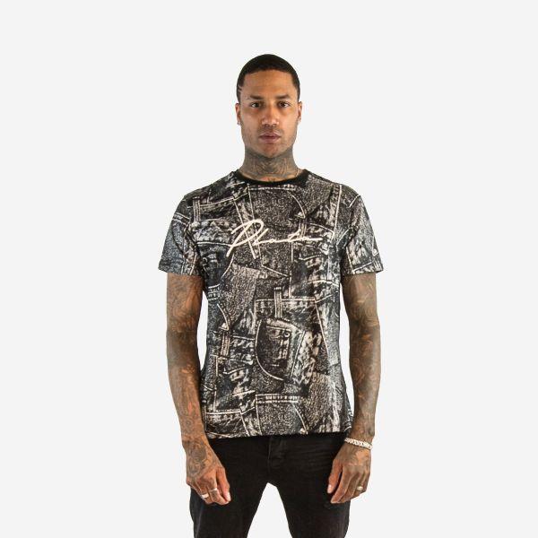 Black and White Plata Slogan T-Shirt
