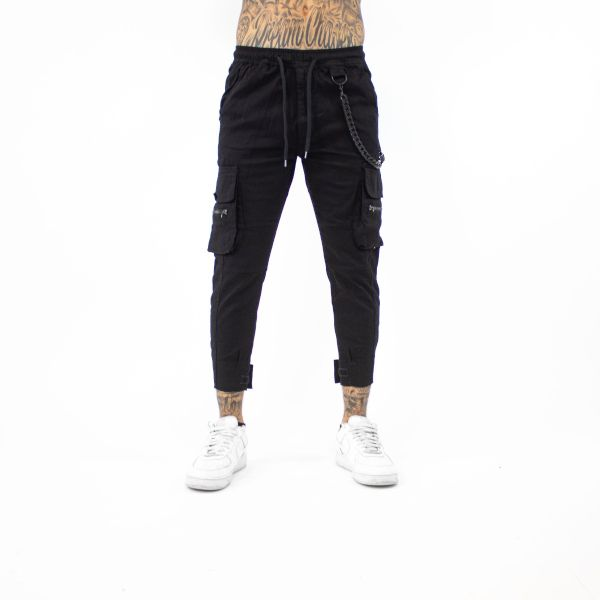 Black Chained Cargo Joggers